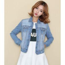秋季新款時尚修身牛仔外套(淺藍色) J-12054