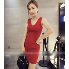 秋裝款V領打底連衣裙(紅色) J-12173