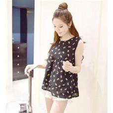 可愛鳳梨印花雪紡無袖連衣裙雪紡上衣(黑色) J-12680