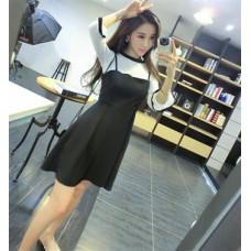 荷葉邊長袖T恤+高腰條紋吊帶連衣裙兩件套套裝(黑色) J-12728