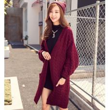 韓國針織衫外套(酒紅色) J-12734