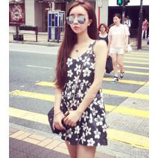 新款花朵無袖圓領背心短裙(單色圖色)**y151527539 J-11997