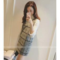 韓版氣質無袖毛呢連衣裙(灰色) J-12111