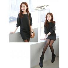 韓版新款甜美長袖連衣裙(灰色) J-12235