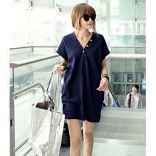 韓版新款T恤V領(深藍色) J-12228