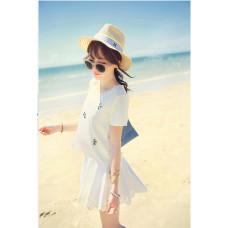 新款名媛小香風套裝 | 釘珠上衣 | 短裙 | 百褶裙 | 兩件套(白色) J-12047