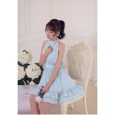 甜美無袖仙女荷葉邊繫帶雪紡連衣裙(藍色) J-13819