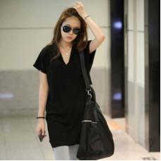 韓版夏季裙子純色寬鬆上衣(黑色) J-13715