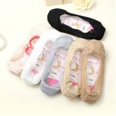 韓國淺口隱形蕾絲船襪矽膠腳底防滑船襪防脫隱形襪(粉色) J-14161