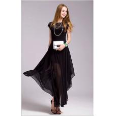 韓版名媛氣質無袖修身蕾絲連衣裙禮服大擺長裙(黑色) J-13694