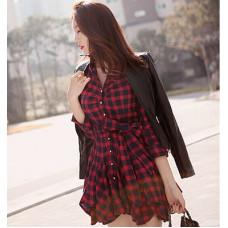 氣質收腰紅格子連衣裙長袖連衣裙打底裙(紅黑格) J-12834