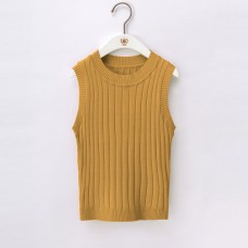 韓版純色短款性感高腰露臍針織背心上衣外穿無袖吊帶衫(黃色) J-13228