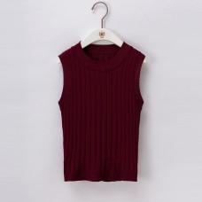 韓版純色短款性感高腰露臍針織背心上衣外穿無袖吊帶衫(酒紅色) J-13227