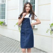 韓版牛仔背帶裙顯瘦吊帶半身裙子連衣裙 J-13141