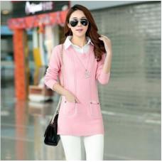 領假兩件套針織衫套頭毛衣襯衫(粉色) J-12851