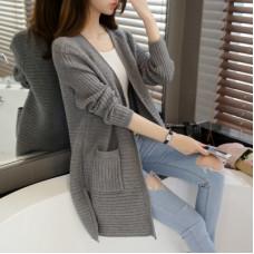 秋冬款毛衣外套中長款外搭上衣針織衫(黑色) J-13507