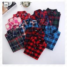 韓版經典款純棉磨毛格子長袖襯衫 J-12820