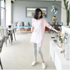 代購韓國東大門V領短袖純棉t中長款上衣(白色) J-13308