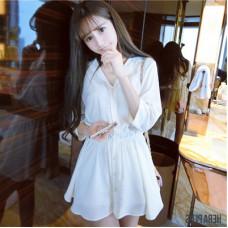 韓版襯衣連衣裙襯衣裙白襯衫 J-13142