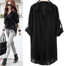 春季大碼中長款襯衣雪紡衫長袖襯衫(黑色)(XL) J-13176