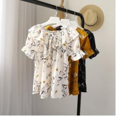 夏季小清新碎花荷葉邊一字領上衣雪紡衫(黃色) J-13200