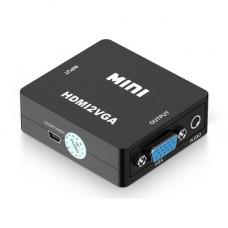 筆電桌機電視顯示器HDMI轉VGA視頻轉換器高清 HDMI to VGA轉換器 HDMI TO VGA(黑色) J-14207