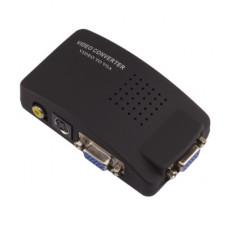 環保包裝AV轉VGA分配器TV PCav轉VGA高清視頻轉換器機頂盒轉電腦 J-14221