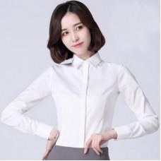 商務修身長袖襯衫免燙彈力纖維職業襯衫(粉色) J-13861