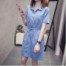 牛仔襯衫連衣裙繫帶鬆緊腰修身顯瘦 J-13736