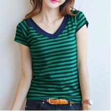 韓版百搭短袖T條紋V領上衣(褐色條紋) J-13707
