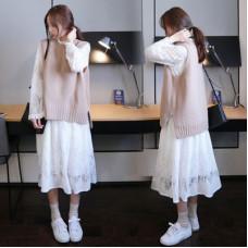 韓版長袖毛衣背心裙子馬甲兩件套裝針織連衣裙 J-14108