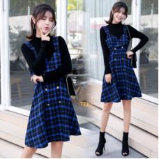 秋冬款時尚套裝裙子復古格子連衣裙毛衣背心裙兩件套 J-13937