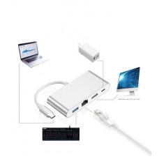 團購價499-環保包裝Type-c轉HDMI四合一轉換器RJ45網卡hub集線器HDMI/PD充電/USB HUB J-14664
