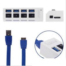 環保包裝USB 3.0 HUB 4PORT 3.0集線器USB3.0 hub獨立開關(顏色隨機) J-14410