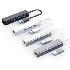 USB3.0 HUB 分享器 USB轉有線RJ45 網卡免驅即插即用(黑色) J-14425