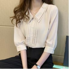 韓版五分燈籠袖雪紡衫娃娃領襯衫 J-14636
