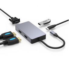 環保包裝type-c USB 雙HDMI VGA PD Mac筆電電腦多功能集線器HUB J-14701