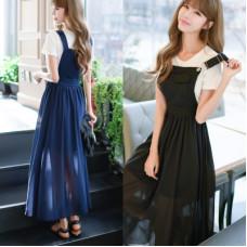 2018韓版韓國東大門時尚背帶長款裙子雪紡連衣裙(深藍色) J-13243