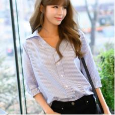 韓版七分袖條紋襯衫V領上衣 J-13680