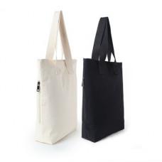 潮牌大容量帆布袋手提包袋單肩包手提袋拉鍊袋環保袋(鐵塔黑色) J-13336