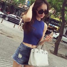 韓版性感露臍上衣緊身無袖背心針織打底衫T恤(白色) J-13093