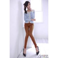 質感內搭褲亮面-棕色 J-14708