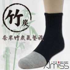 奈米竹碳元素-氣墊襪(黑色) J-12674