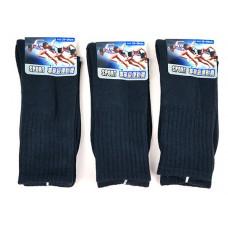 4/4 厚底純棉毛巾運動氣墊襪(黑色) J-13767