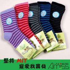 舒柔全起毛-可愛雙色條紋童襪(7-12歲)(款式顏色隨機) J-12813