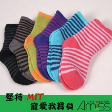 舒柔全起毛-可愛雙色條紋童襪(0-3歲) J-12812