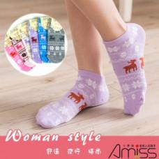 可愛直版流行-少女船襪 J-12378