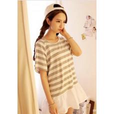 學院條紋短袖T恤連衣裙(灰條) FD28 J-12617