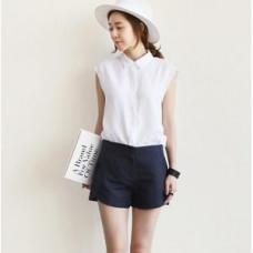 日韓版上衣襯衫+短褲兩件套(白襯衫+深藍短褲) J-12508