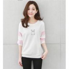 韓版時尚圓領印花長袖衛衣T恤(白色) J-12779